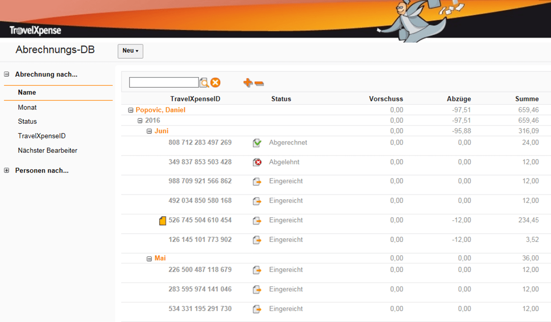 Chronologische Übersicht der Reisekostenabrechnungen eines Benutzers inklusive Status und Summen